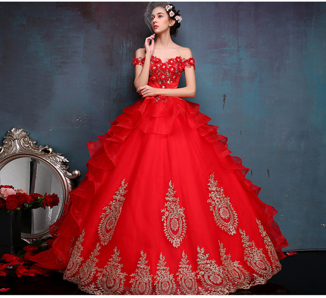 Anime Ball Gown White With Red Roses: 100%real Red Flowers Beading Golden Embroidery Ball Gown