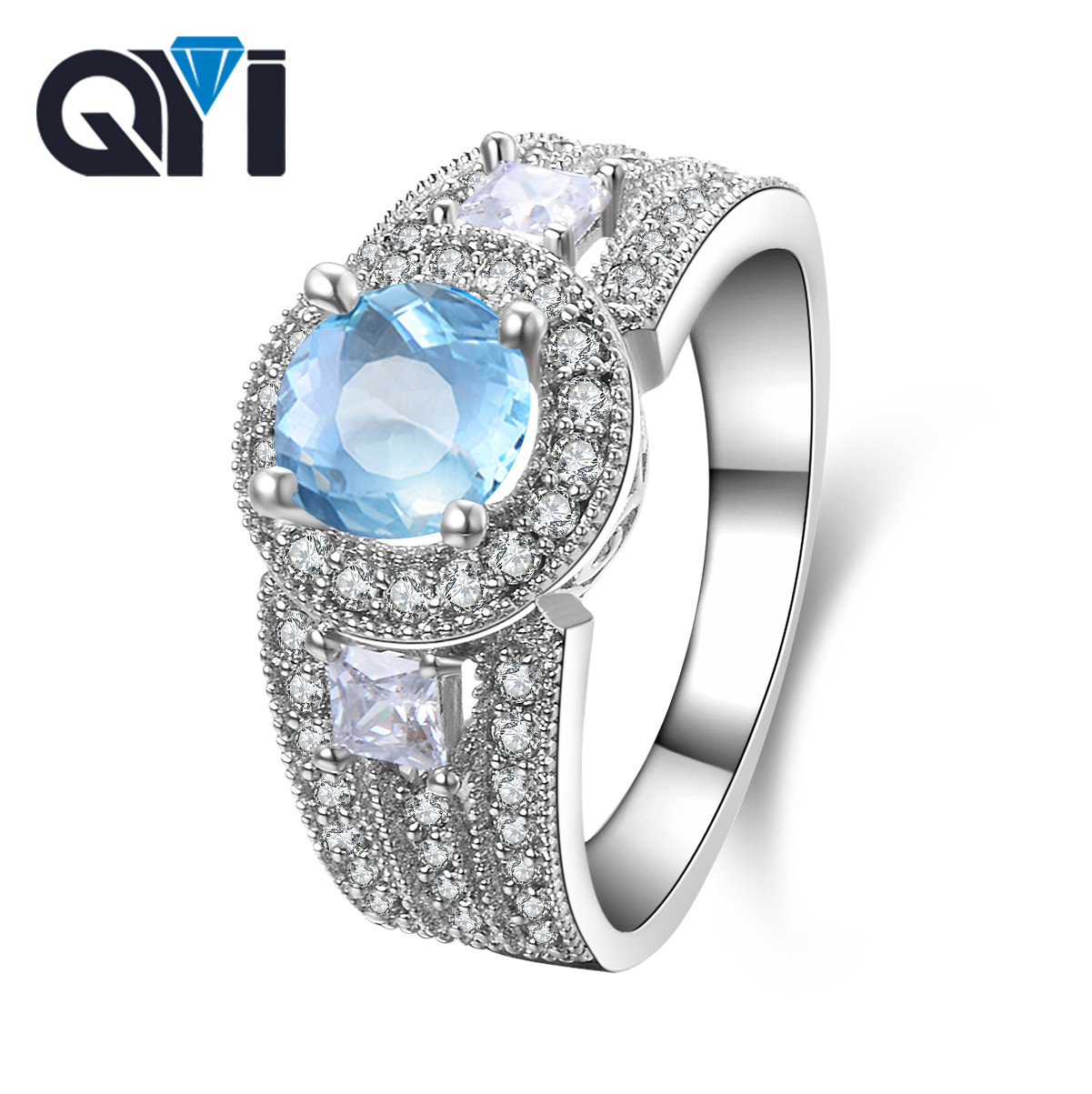 QYI 1.25 ct Natural sky Blue Topaz Ring for Women 925 Sterling Silver Gemstone Ring Luxury Engagement Jewelry Size 5 6 7 8 9QYI 1.25 ct Natural sky Blue Topaz Ring for Women 925 Sterling Silver Gemstone Ring Luxury Engagement Jewelry Size 5 6 7 8 9