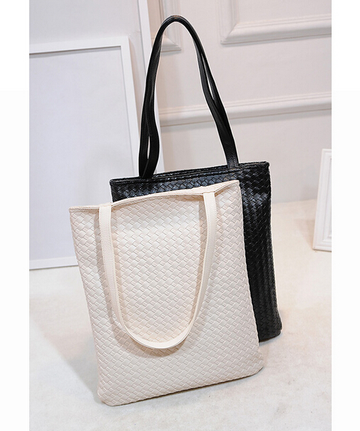2015 new women bag weave pattern vertical section handbag minimalist fashion in Europe and America shoulder