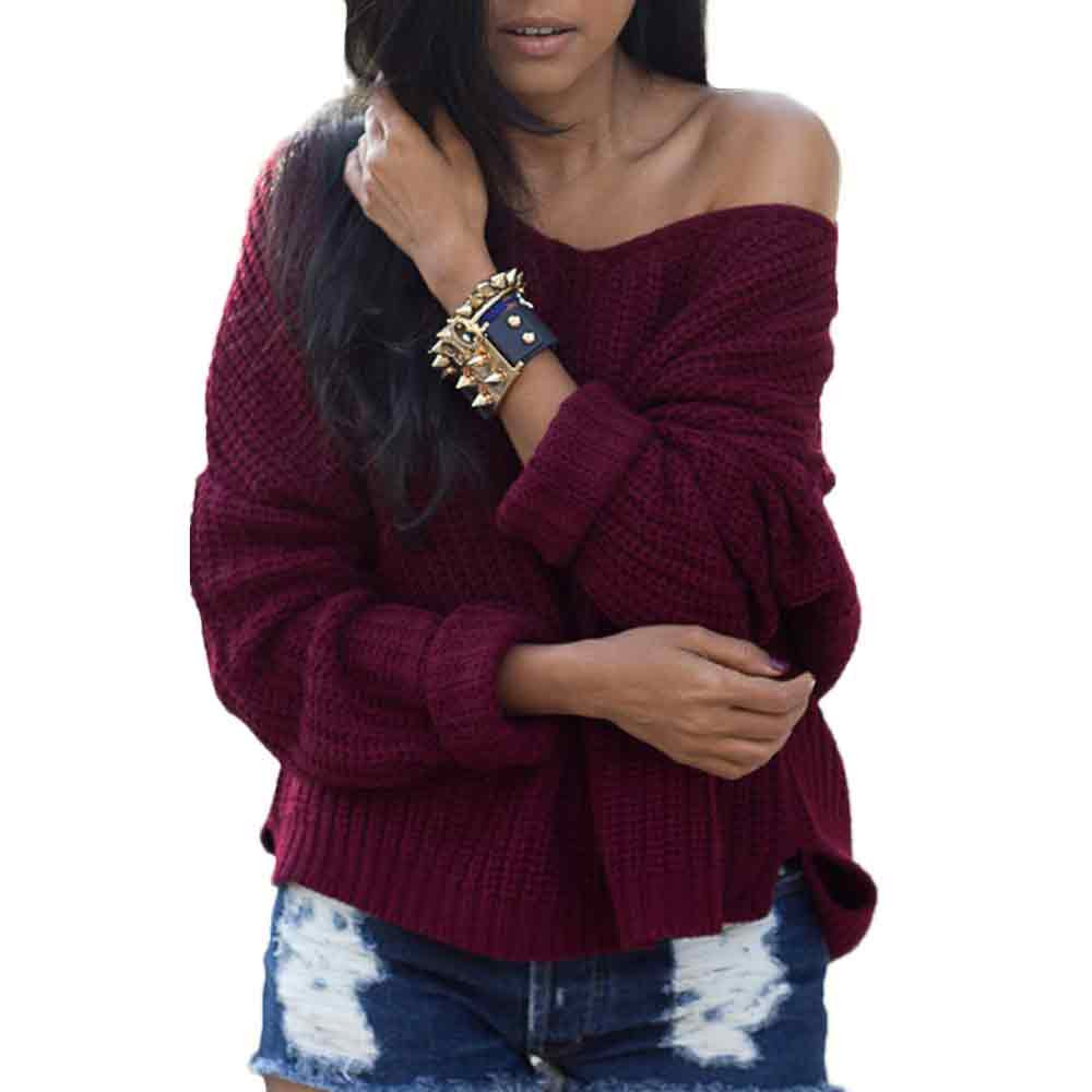 2018 Autumn Winter Womens Long Sleeve Loose Knitted Sweater Pullovers  Fashion Casual Jumper Tops V neck Oversized Cardigan c175d9f8f
