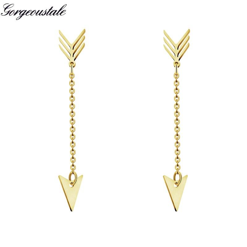 Geometric Gold Color Triangle Arrow Stud Earrings Women Minimalist Jewelry Stainless Steel Short Chain Best Friend Gift 2018