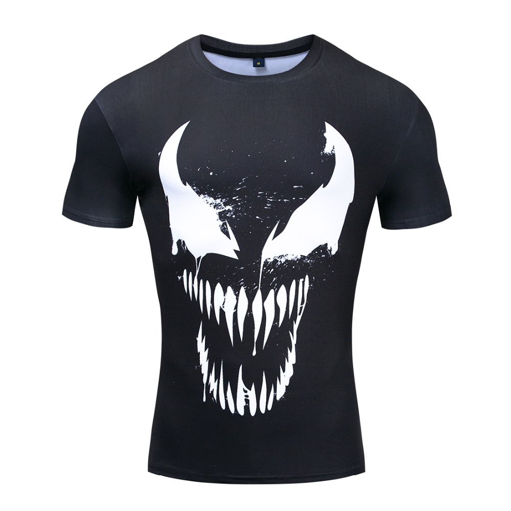 Venom Compression Shirt 3D Printed T-shirts Men Short Sleeve Fitness Cloth Tops Male Comics Cosplay Costume Punisher