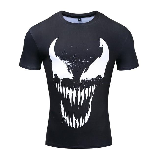 Venom Sıkıştırma Gömlek 3D Baskılı T-Shirt Erkek Kısa Kollu Spor Bez Üstleri Erkek Comics Cosplay Kostüm Punisher