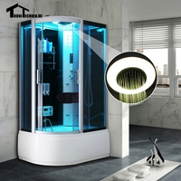 1200x800mm Steam Shower Cabin Luxury Glass Offset Steam Shower Enclosure Cabin Cubicle Bath Room Black Right