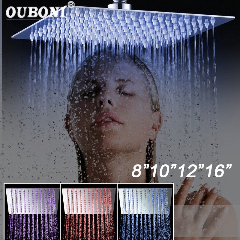 8 10 12 16 Inch LED Shower Head Square Romantic Bathroom Shower Head Temperature Control 3 Color Lights Ultrl Thin Shower head