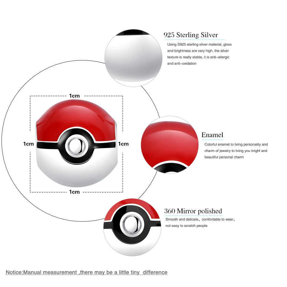 PURE 925 Sterling Silver Pokeball Pokemon สีแดงลูกปัด Charm Fit Pandora Charm สร้อยข้อมือเครื่องประดับแท้ทำ