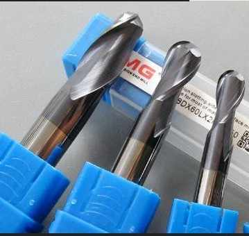 HRC52 Super micro grano cono de carburo de tungsteno bola extremo molino para fresado CNC, 2F * R1.0 * 4*3*38 tipo cono fresa, bit