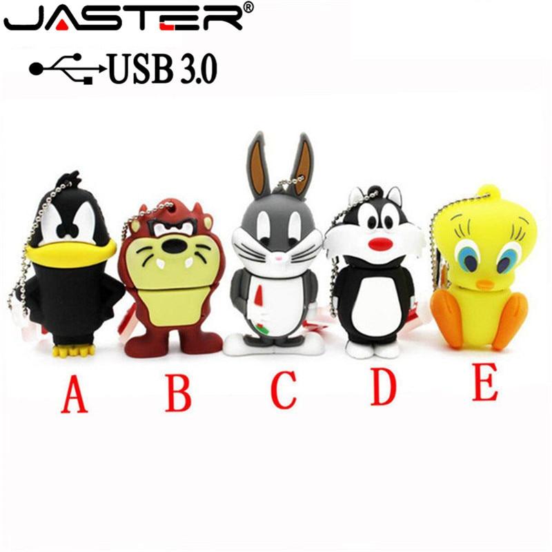 JASTER USB 3.0 Capacity Cute Bugs Bunny Pendrive Cartoon Rabbit  Memory Stick Animal Pen Drive 4gb 8gb 16gb 32gb 64gb Gift