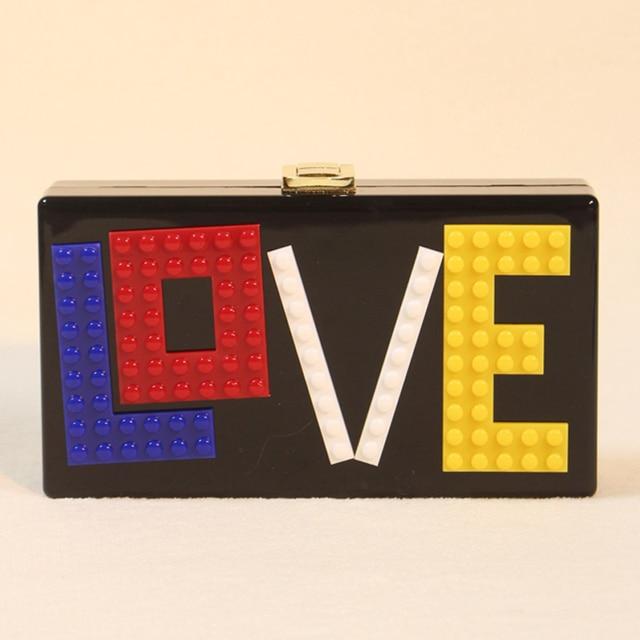 women handbag letter love and heart magic box arcylic handbag  with chains messenger cross body shoulder handbag clutches 5107