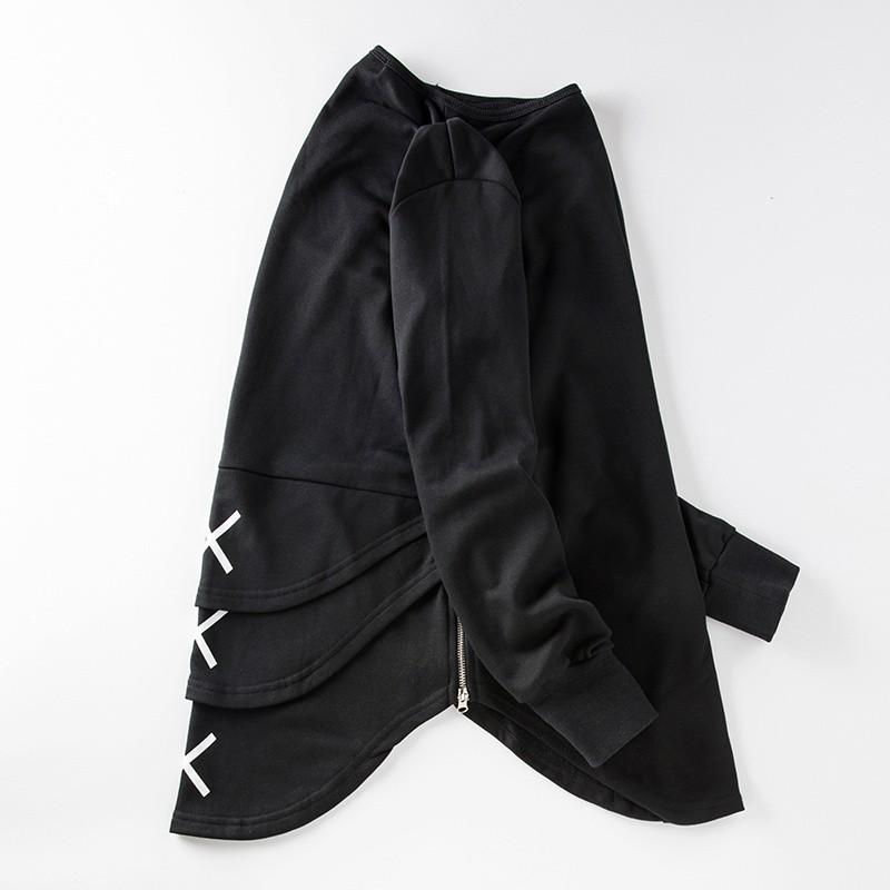 Cross Printed Hip Hop Sweatshirt Men 17Spring Streetwear Curved Hem Side Zipper Plain Mens Sweatshirts and Hoodies Man Clothes 26