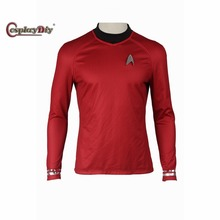 Cosplaydiy Star Trek Into Darkness Spock Cosplay T Shirt Long Sleeves T-shirt Adult Men Halloween Cosplay Costume Custom Made
