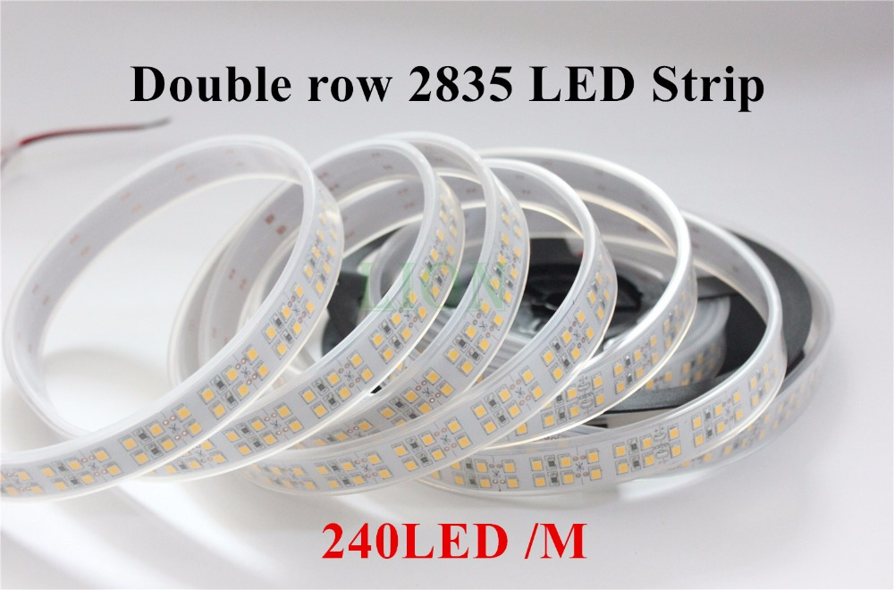 5M Double Row 1200 Leds  White /Warm White 2835 Led Strip WaterproofIP20 / IP67 240 Leds/m More Brighter Than 3528 Strip