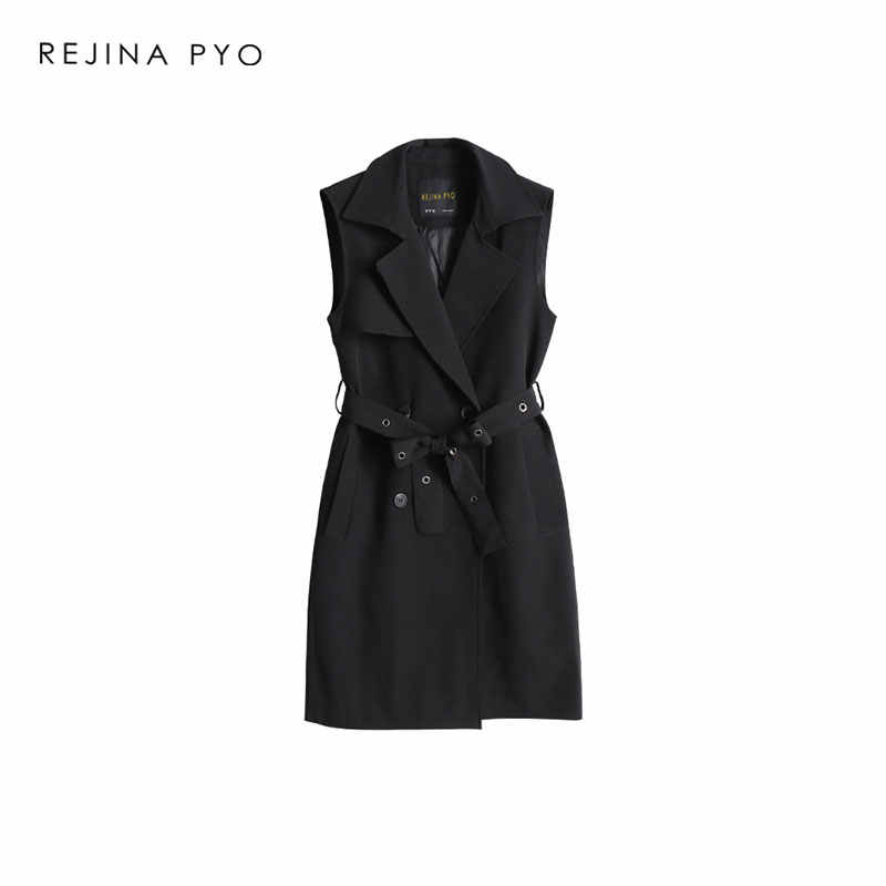 BIAORUINA Office Lady Style Elegant Solid Double Breasted Long Vest Outerwear with Sashes Mental Buckles Turn-down Collar