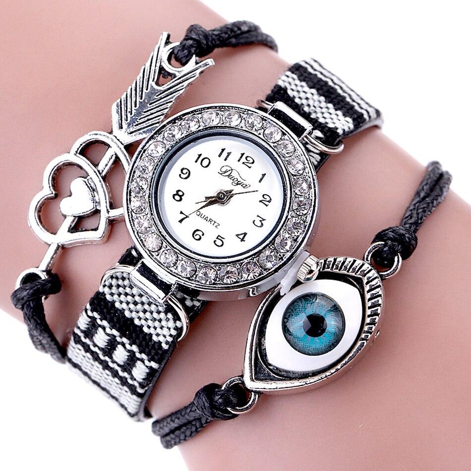 Duoya Brand Eye Gemstone Luxury Watches Women Bracelet Watch Fabric Strap Quartz Wristwatches Lady Hour Clock reloj mujer duoya fashion luxury women gold watches casual bracelet wristwatch fabric rhinestone strap quartz ladies wrist watch clock
