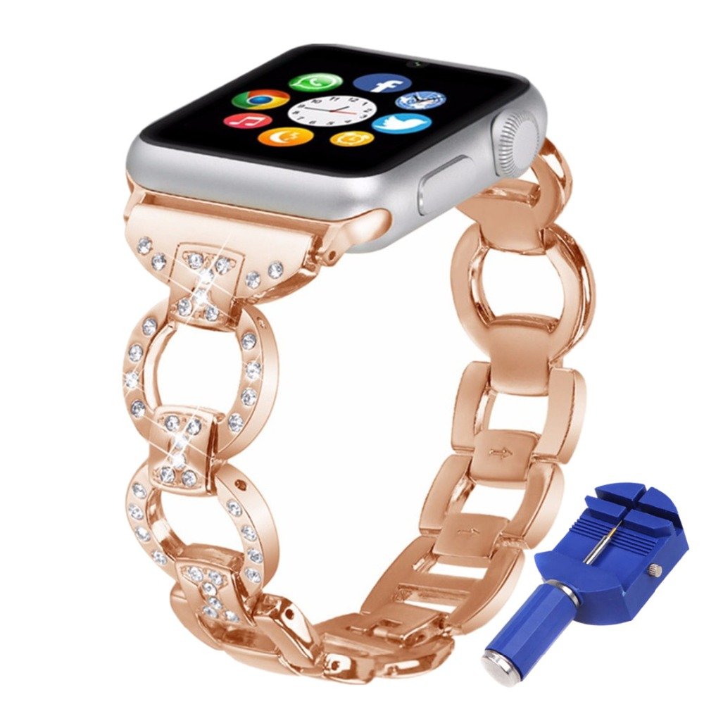 OSRUI diamond Strap For Apple Watch band 42mm 44MM 38mm 40MM iwatch series 4 3 2 1 Stainless Steel wrist link Bracelet belt in Watchbands from Watches