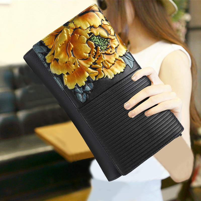 Chinese Style Lady Clutch Purse Genuine Leather Top Leather Flower Pattern Vintage Envelope Bag Wallet Shoulder Messenger BagsChinese Style Lady Clutch Purse Genuine Leather Top Leather Flower Pattern Vintage Envelope Bag Wallet Shoulder Messenger Bags