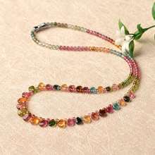 Color Tourmaline Necklace Female Tourmaline Princess Necklace Necklace Clavicle Chain Crystal Jewelry Gift