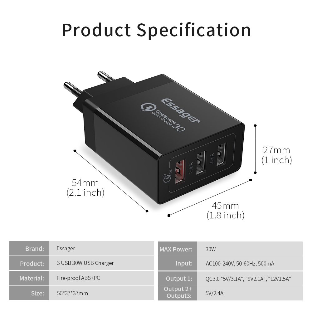 Essager Quick Charge 3.0 USB Charger 30W With Multi Plug And Turbo Fast Charging 11