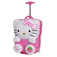 Дети рисунок «Hello Kitty» чемодан на колесиках и рюкзак розовый случае тележка чемодан, прекрасный картонная коробка подарок для детей