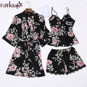 Image 1 - Fdfklak pijamas florais 2018 primavera verão sexy pijama 3 peça pijamas para a mulher de seda noite terno pijamas conjuntos casa roupas q952