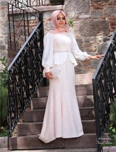 2015 Mermaid 2 Two Piece Muslim Evening Dresses A line Long Sleeves Lace Hijab Islamic Abaya in Dubai Kaftan Evening Gowns Dress