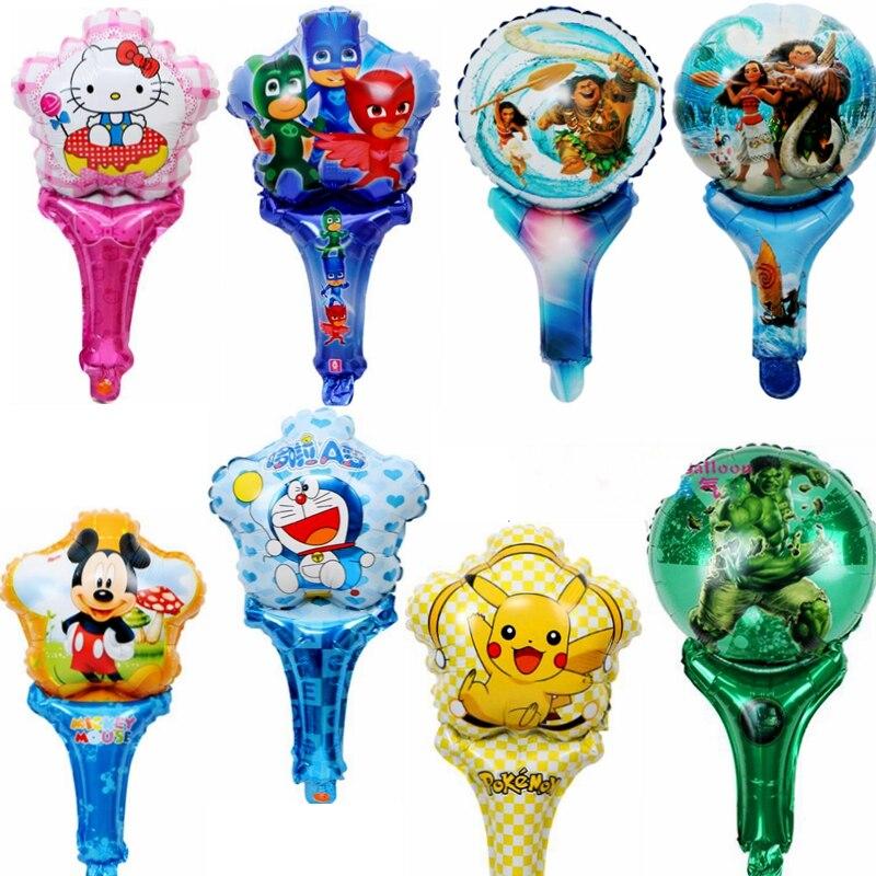 10pcs Foil Balloons Hello Kitty PJ Masked Mickey Minnie Doraemon Pokemon Bear Rabbit Birthday Party Decoration child toys gifts
