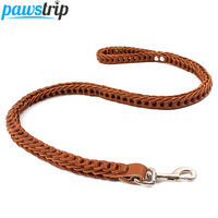 Pawstrip Braided Leather Dog Leash For Large Breed 1 inch Width Strong Pet Walking Training Leads