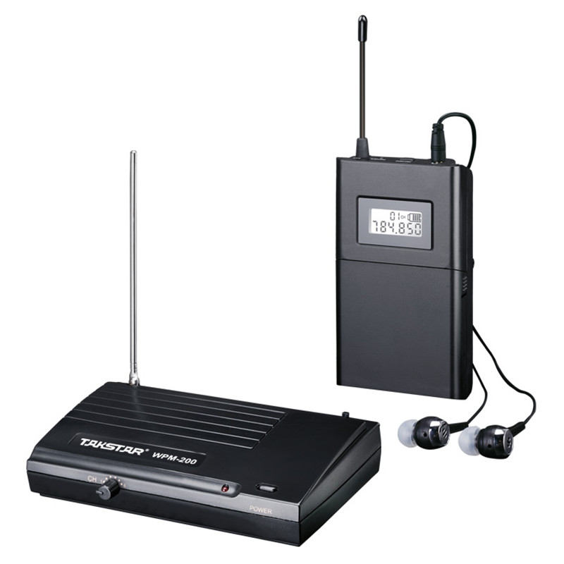 Promotion TAKSTAR wpm-200 UHF Wireless Professional Monitor System Stage In Ear Stereo Wireless Earphone Transmitter & Receiver ukingmei uk 2050 wireless in ear monitor system sr 2050 iem personal in ear stage monitoring 2 transmitter 2 receivers