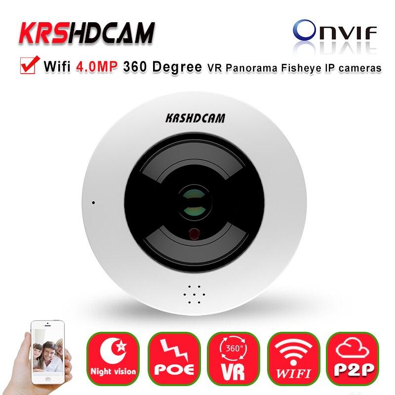 Fisheye IP caméra Wifi 360 Degrés Mini WiFi Caméra 4MP Sécurité À La Maison Caméra VR Panoramique IR Surveillance 5MP 1.05mm caméras IP