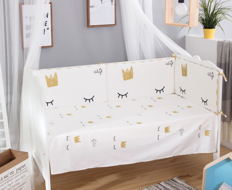 4pcs/set baby bedding set 4pcs bumper suitabab 120x60cm baby bed crib protector Crown Eyelash Ballet Princess bear pattern4pcs/set baby bedding set 4pcs bumper suitabab 120x60cm baby bed crib protector Crown Eyelash Ballet Princess bear pattern