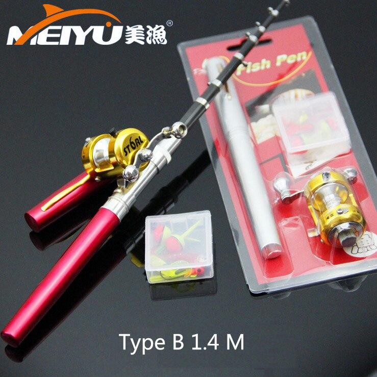 Portable design FRP full set type B 1.4 meters pen telescopic fishing <font><b>rod</b></font> mini fishing <font><b>rods</b></font> have a fishing reels