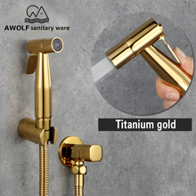 Toilet Bidet Sprayer Douche Kit Titanium Gold Hand Held Shower Faucet Stainless Steel Shattaf Copper Valve Jet Set AP2103