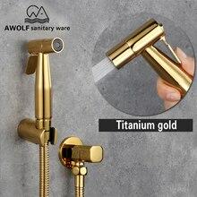 Wc Bidet Sprayer Douche Kit Titan Gold Hand Dusche Wasserhahn Edelstahl Shattaf Kupfer Ventil Jet Set AP2103