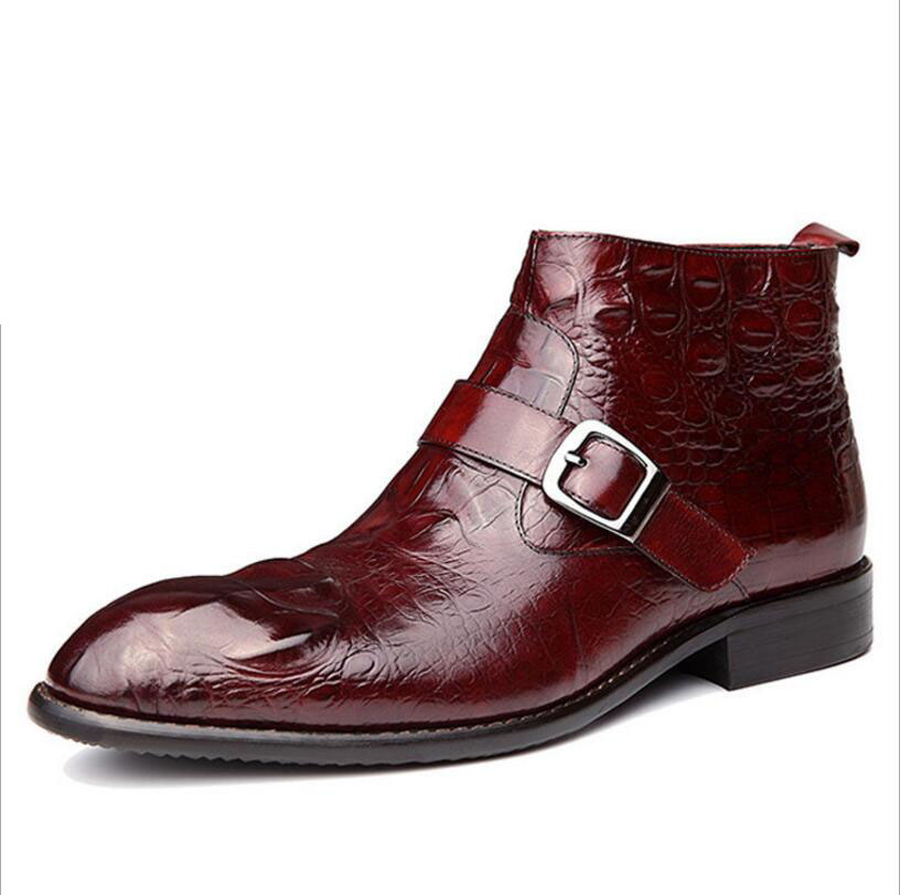 Men Winter Boots Genuine Leather Ankle Casual Martin Boots Pointed British Style Shoes Brand Warm Men Boots Botas Hombre
