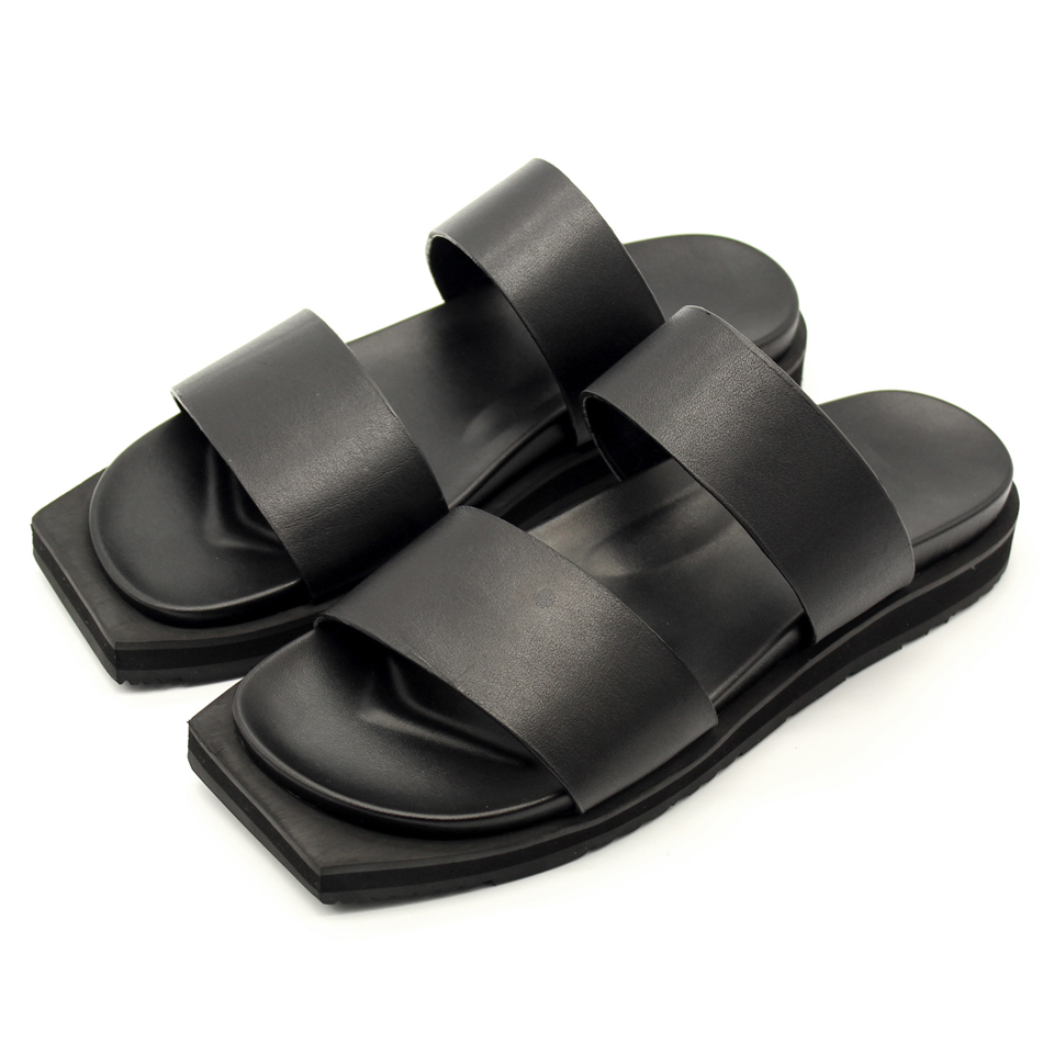 Black double strap summer sandals