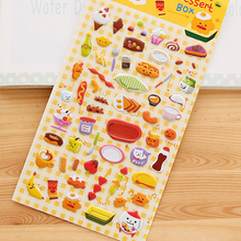 1 Sheet ' Snacks Food ' Cartoon Kids Toys 3D Sticker DIY Kawaii Diary Decoration Scrapbooking kindergarten Stationery Cute+ south korea stationery cute diary decoration stamp children s toys cartoon wood stamps 25set