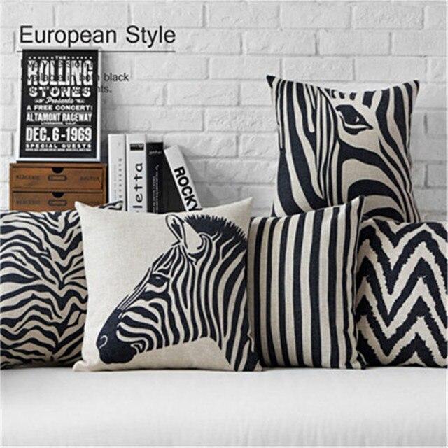 Zebra Kissenbezug 45X45 cm Schwarz und Beige Streifen Kissenbezug ...