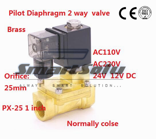 Free shipping Normally Closed 2 way Pilot Diaphragm Brass electric 12v dc water pneumatic Solenoid Valve 1 BSP 25mm PX-25 NBR dc 12v normally open n o 2 way pilot solenoid valve15mm water steam oil solenoid electric valve