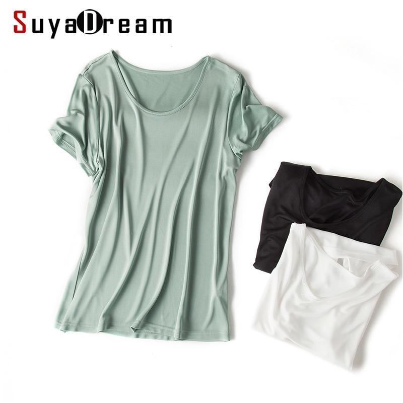 Women T Shirt 30%Silk 70%Viscose O Neck Short Sleeved Bottoming Shirt 2019 Summer Shirt Basic Top White Black