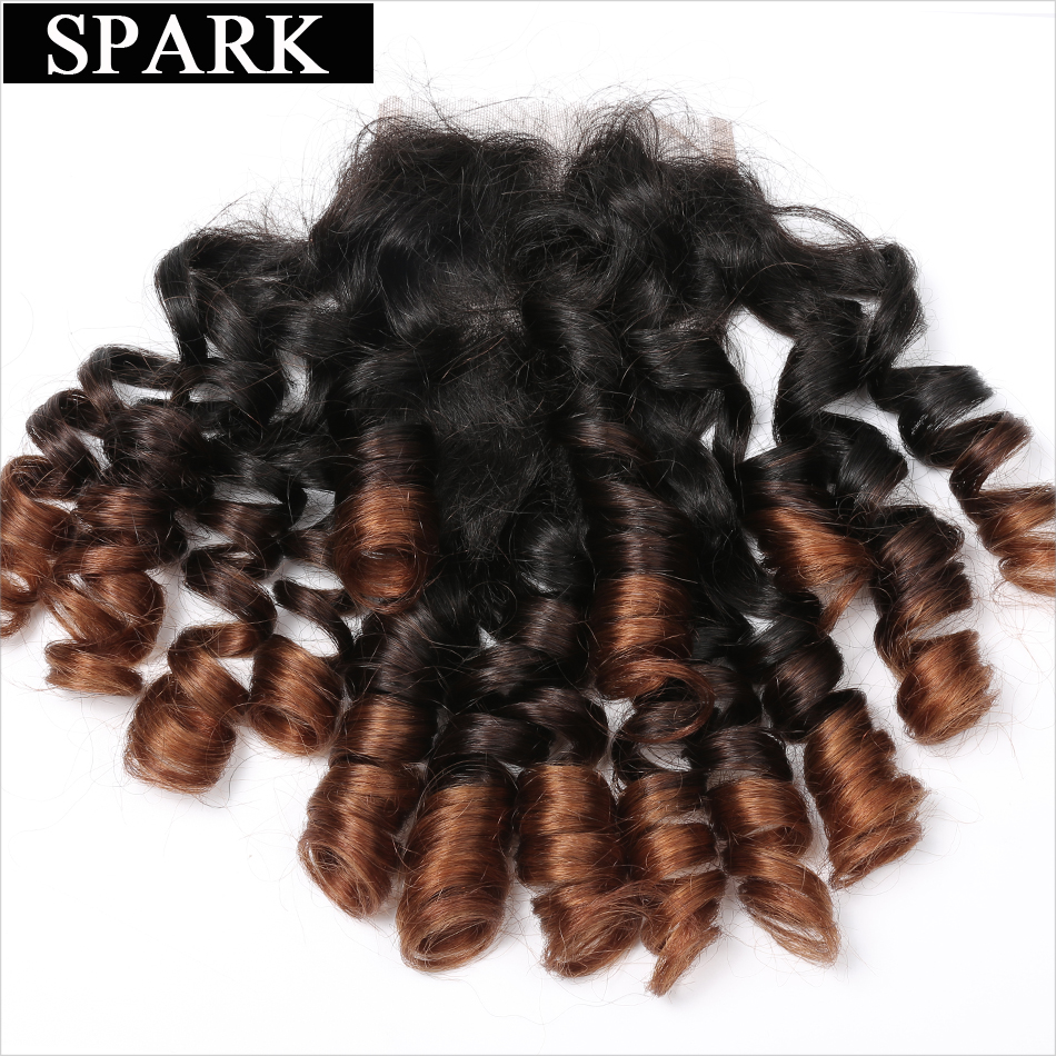 Spark 4x4 Ombre Brazil Remy Hair Bouncy Curly Closure 10-22inch 1b / - Rambut manusia (untuk hitam) - Foto 3