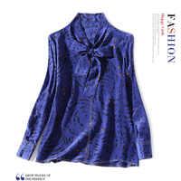 100% шелк кошка печати лук свободные прямые пуловер Блузка Новинка 2019 года для женщин сезон: весна лето офисные женские туфли работы рубашк