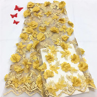 Organza Fabric 3D Flower Yellow Lace for Dress,Wedding Summer Embroidered Diy Handmade Sewing Supplies Crafts HJ1239 1
