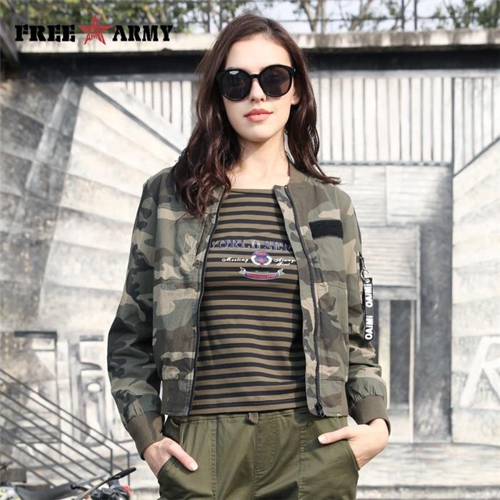 FreeArmy Fashion Outwear Coat Women Casual Jackets Coats Military Camo Short Cotton Female Bomber Jacket Woman