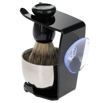 Shaving Brush Set  Shaving Razor Badger Hair Shaving Brush With Stand Holder Beard Shaving Kit Soap Bowl Cleaning Brush 2