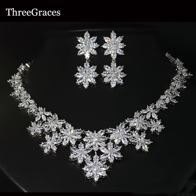 ThreeGraces Luxury White Gold Color CZ Stone Big Bridal Wedding Flower Necklaces And Earrings Jewelry Sets For Brides JS013 pera luxury bridal wedding imitation pearl jewelry green cz stone pave setting big long hanging earrings for brides e045