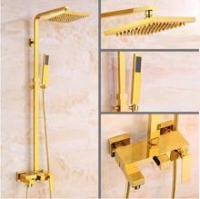 Dofaso quality antique golden shower faucet with all copper vintage bathroom big rain gold head square 8