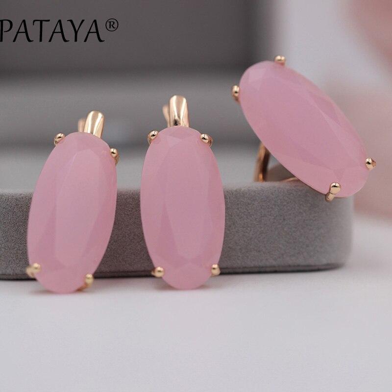 PATAYA 17 farben 585 Rose Gold Frauen Vintage Edlen Schmuck Multicolor Künstliche Kubikzircon Große Baumeln Ohrringe Ringe Sets