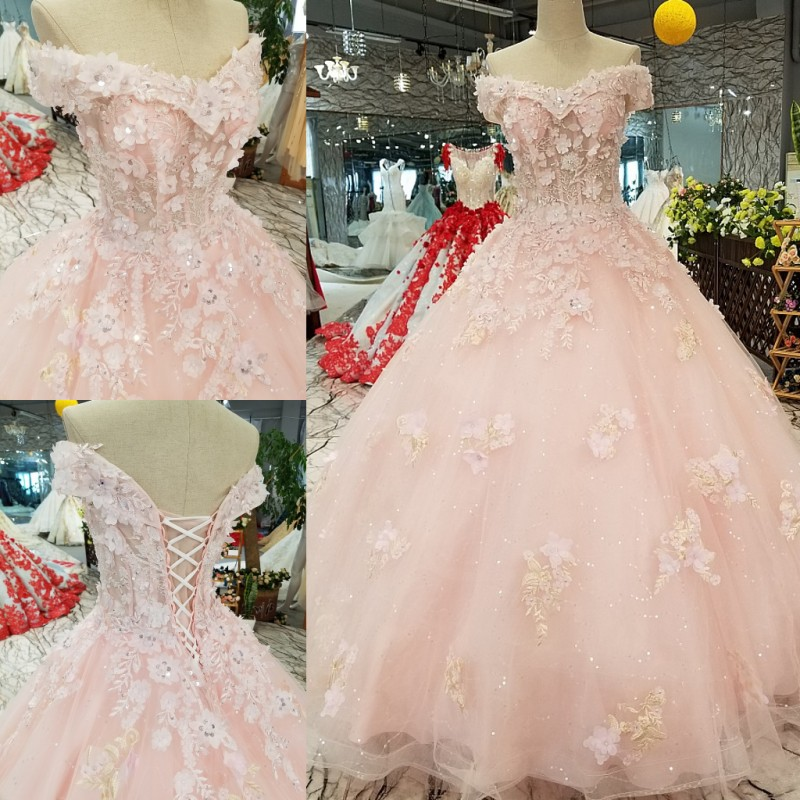 Robes De Mariee 2018 Infantile Rose Bonbon Broderie Dentelle Fleur