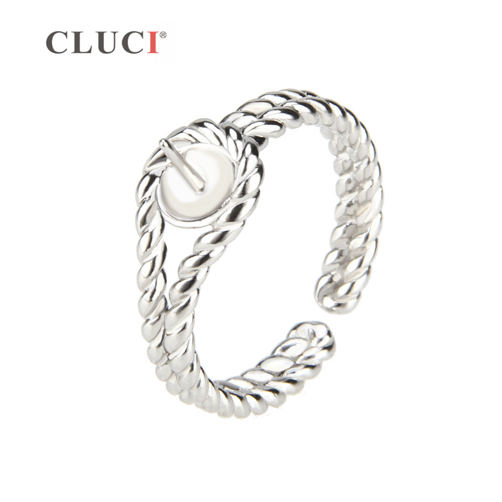 CLUCI Rope shape 925 sterling silver adjustable rings accessories for making pearls ring jewelryCLUCI Rope shape 925 sterling silver adjustable rings accessories for making pearls ring jewelry