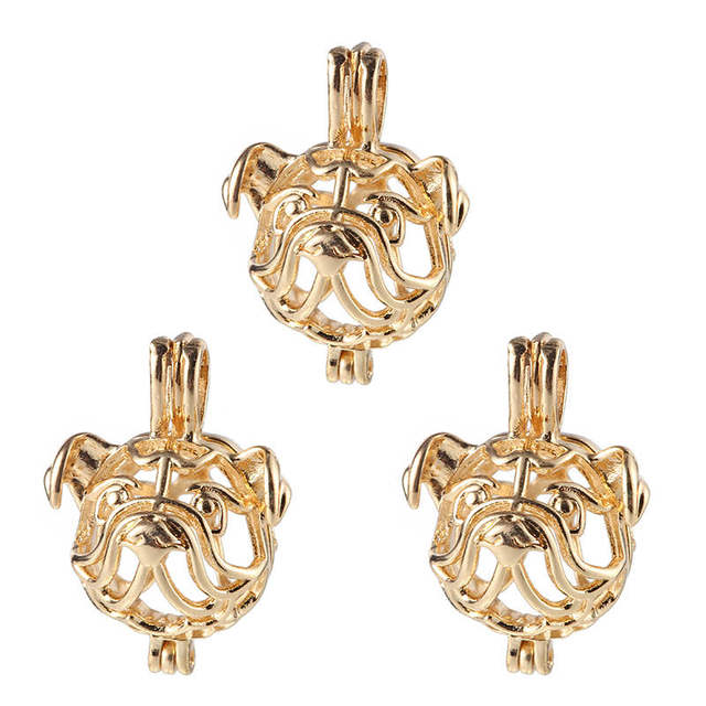 5Pcs French Bulldogs Shapes Golden Silver Color Pearl Beads Cage Pendant Locket For DIY Fashion Essential Oil Diffuser Jewelry